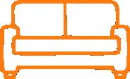 furniture sofa icon orange