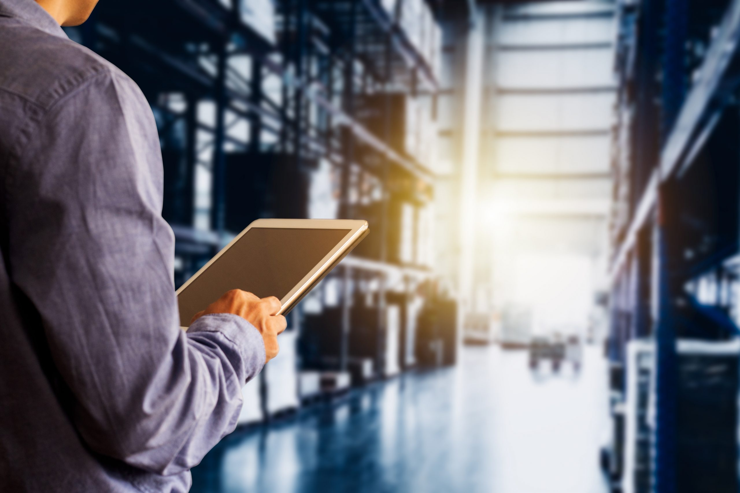 man looking at computer software in warehouse